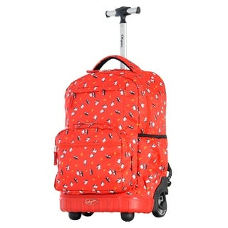 Olympia USA Melody Red Penguin 19-inch Rolling Backpack