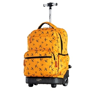 Olympia USA Melody Yellow Plane 19-inch Rolling Backpack