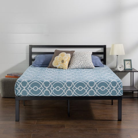 Priage Quick Lock 14 Inch Metal Platform Bed Frame with Headboard