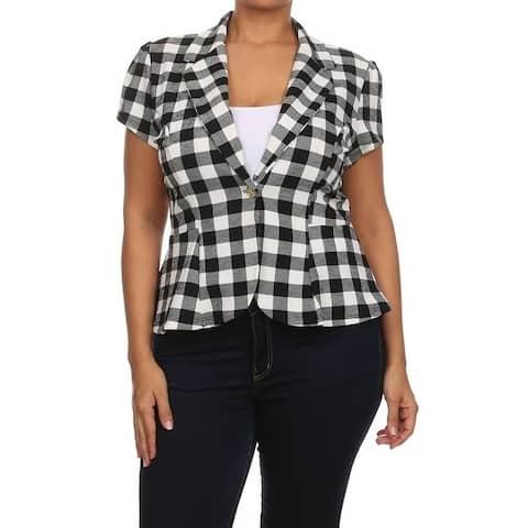 Women's Plus Size Plaid Pattern Blazer Style Jacket