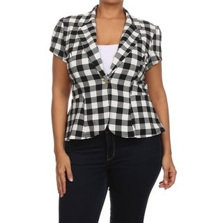 Women's Plus Size Plaid Pattern Blazer Style Jacket