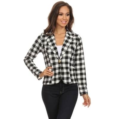 Women's Plaid Print Blazer Style Jacket
