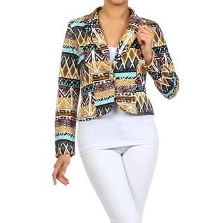 Women's Tribal Print Blazer Style Jacket|https://ak1.ostkcdn.com/images/products/17041567/P23318603.jpg?impolicy=medium