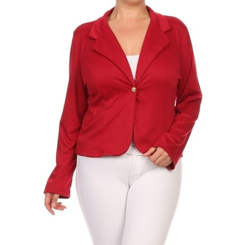 Women's Plus Size Solid Blazer Style Jacket