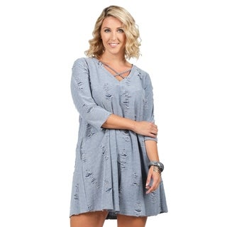 Xehar Womens Plus Size Casual V-Neck Distressed Short Dress