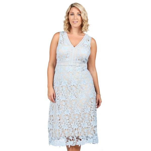 Shop Xehar Womens Plus Size Illusion Crochet Knit V-Neck Dress ...