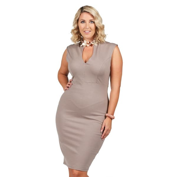 Shop Xehar Womens Plus Size Seamed Pencil Skirt Sheath Dress ...