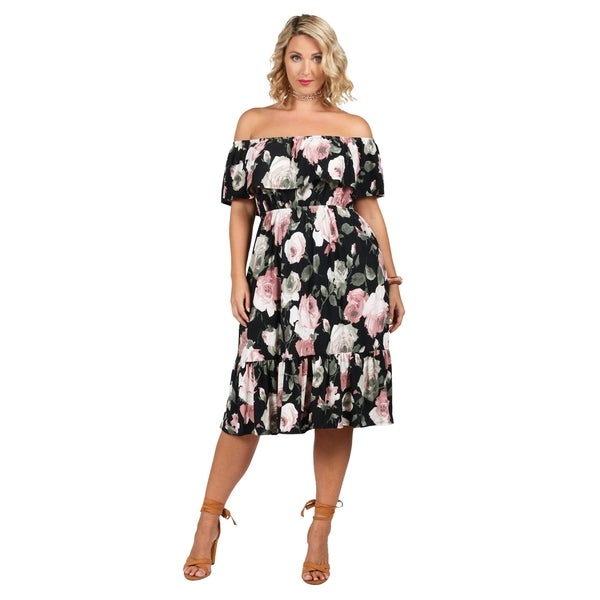 afbe8fba5bb6e Shop Xehar Womens Plus Size Off Shoulder Floral Print Ruffle Dress ...