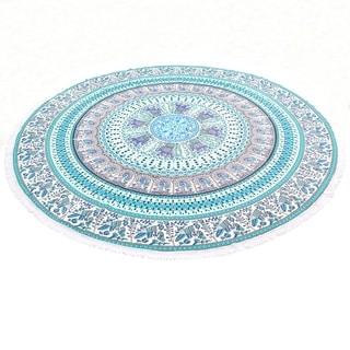 Round Elephant Mandala Tapestry