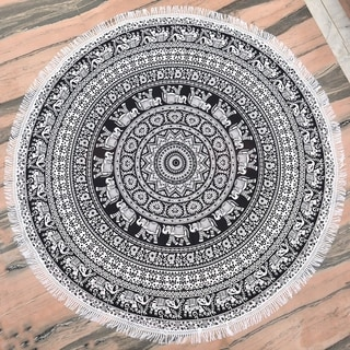Black & White Round Mandala Tapestry