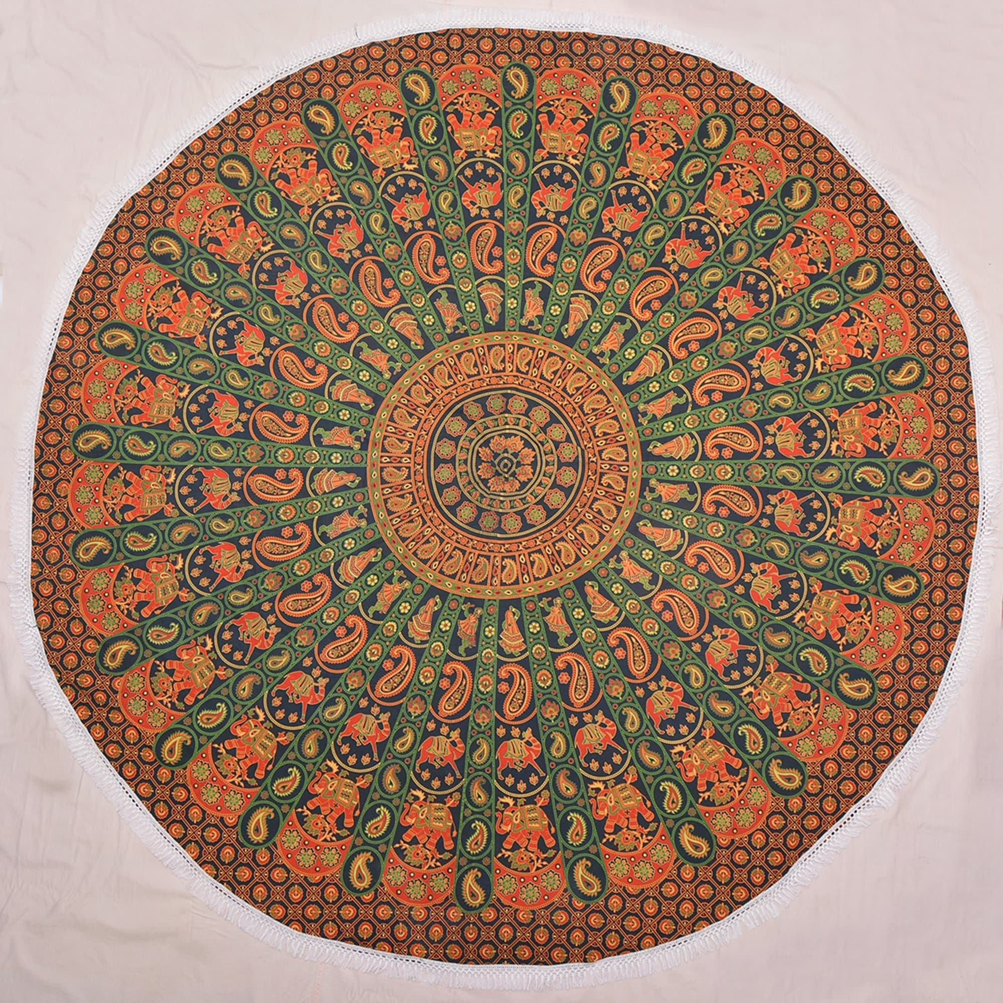 Round Elephant Mandala Tapestry Beach Throw Yoga Mat, Gre...