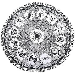 Black Zodiac Round Mandala Tapestry Hippie Wall Hanging