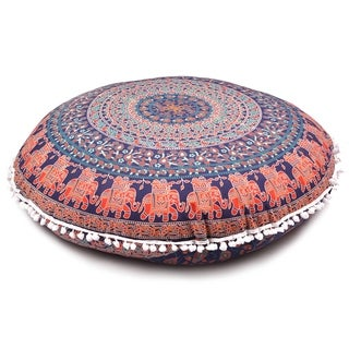 Goood Times Blue Throw Decorative Floor Pillow Cushion Cover Mandala