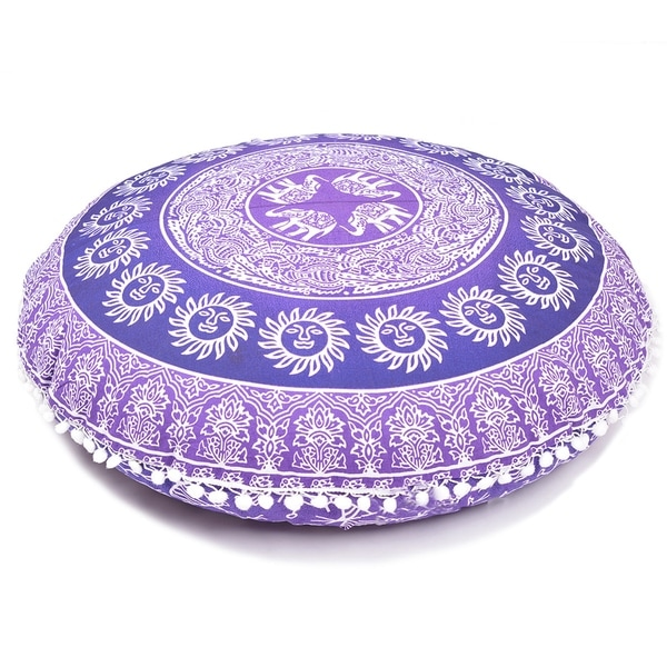 Purple Decorative Floor Pillow Cushion Cover Mandala 32