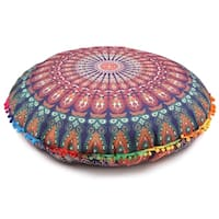 Blue Throw Decorative Floor Pillow Cushion Cover Mandala