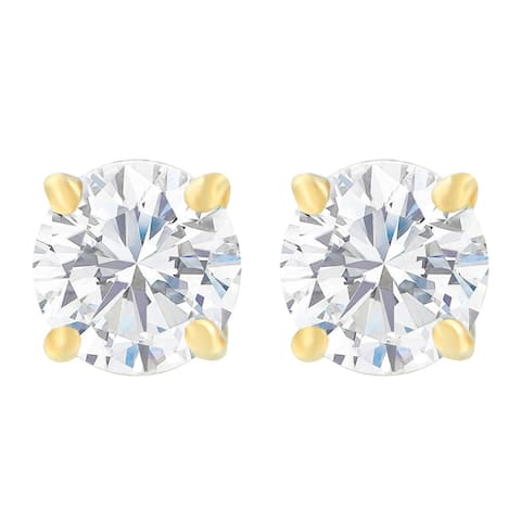 10k Yellow Gold-Plated Sterling Silver 1.00ct TDW Round-Cut Diamond Solitaire Certified Stud Earrings (J-K, I2-I3)