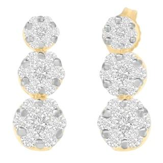 14kt Yellow Gold 2ct. TDW Round-cut Diamond Earring (I-J,VS1-VS2) - White