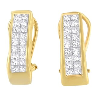 14K Yellow Gold 1ct. TDW Princess-cut Diamond Earrings,(G-H, VS1-VS2)