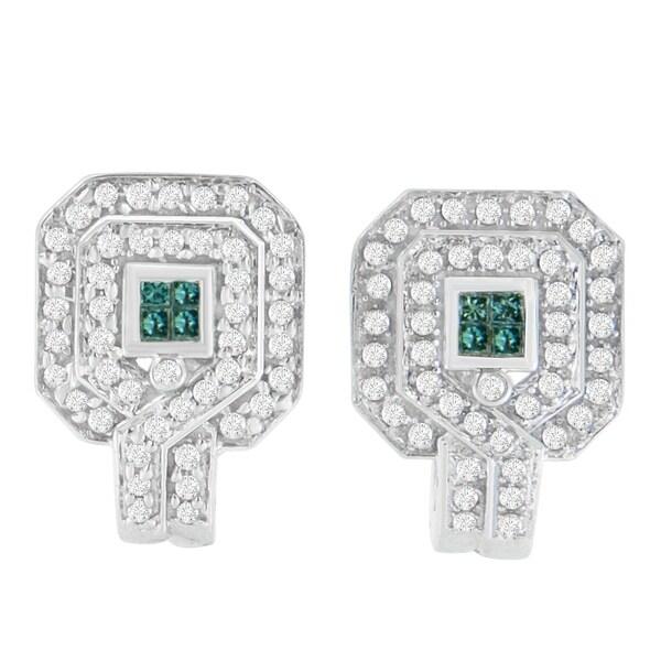 Tdw Round And Princess Cut Treated Blue Diamond Earrings