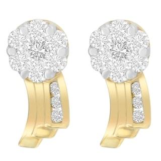 14kt Yellow Gold 0.86 ct. TDW Round-cut Diamond Earrings (I-J,SI1-SI2) - White