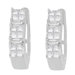 14kt White Gold 1/2ct. TDW Baguette and Princess-cut Diamond Earrings (H-I,VS1-VS2)