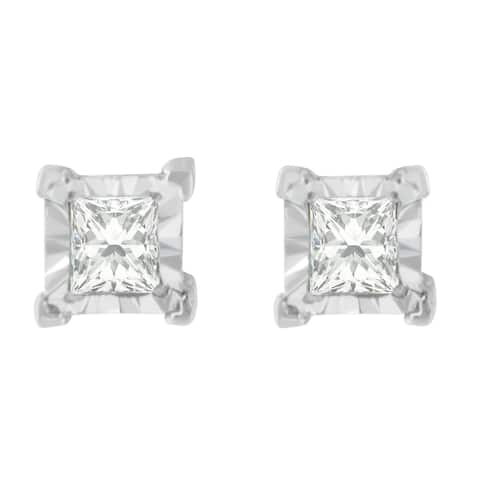 Sterling Silver 3/8ct. TDW Princess-cut Diamond Earrings(H-I,I2-I3)