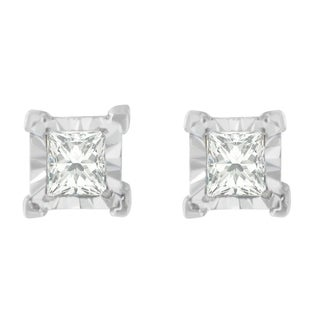 Sterling Silver 1/2ct. TDW Princess-cut Diamond Earrings(H-I,I2-I3) - White
