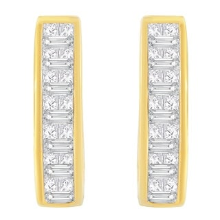 14K Yellow Gold 3/4ct. TDW Baguette and Princess-cut Diamond Earrings (H-I,SI1-SI2) - White