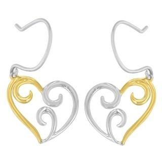 10K Yellow Gold Heart Dangle Earrings