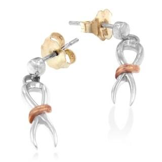 Two-Toned Sterling Silver Ribbon Dangle Earrings