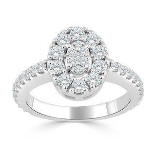 Auriya 14k Gold 1/2ct TDW Diamond Cluster Halo Engagement Ring (H-I, I1-I2)