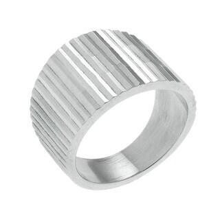 Kele & Co Women's 0.925 Sterling Silver Diamond-cut Band