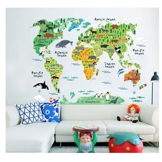 'Animal World Map' Vinyl Wall Art