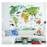 'Animal World Map' Vinyl Wall Art