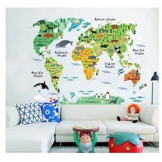 Map art gallery for less overstock animal world map vinyl wall art gumiabroncs Images