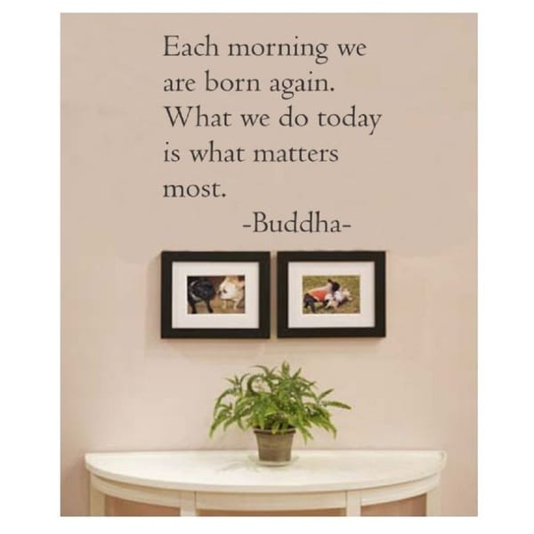 Shop Each Morning We Are Born Again Buddha Quote Vinyl Wall Decal