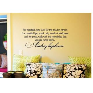 'For Beautiful Eyes Audrey Hepburn Quote' Vinyl Wall Decal