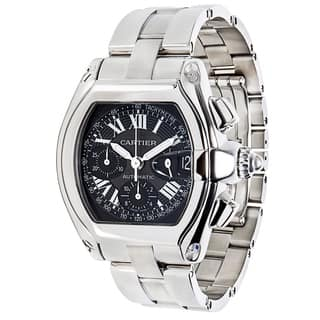Cartier Roadster W62020X6 Chronograph Men's Watch in Stainless Steel|https://ak1.ostkcdn.com/images/products/17075395/P23348628.jpg?impolicy=medium
