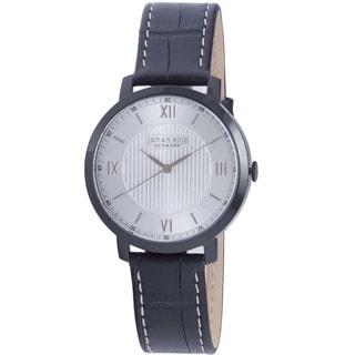 Johan Eric Men's Swiss Quartz Black Leather Strap Watch