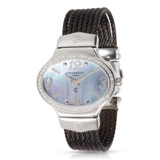 Charriol Darling Oval Women's Quartz Watch in Stainless Steel|https://ak1.ostkcdn.com/images/products/17075639/P23348852.jpg?impolicy=medium