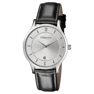 Johan Eric Men's Swiss Quartz Black Leather Strap Watch