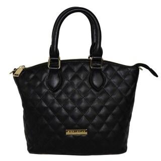 Suzy Levian Faux Leather Quilted Satchel Handbag - M