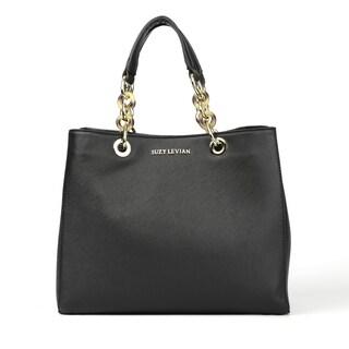 Suzy Levian Saffiano Faux Leather Chain Strap Satchel Handbag - L