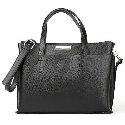 Suzy L. Saffiano Faux Leather Satchel Handbag