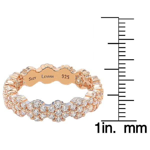 Suzy L. Rose Sterling Silver Cubic Zirconia Floral Eternity Band - Pink