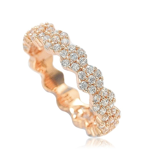 Suzy Levian Rose Sterling Silver Cubic Zirconia Floral Eternity Band - Pink