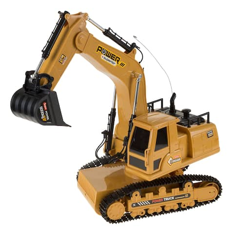 Hey! Play! Remote Control Tractor Excavator Construction Toy with Movable Claw
