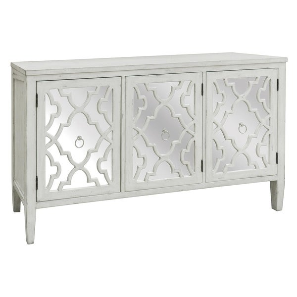 Marissa Antique White Pattern Mirror 3 Door Sideboard Free Shipping Today 17075819