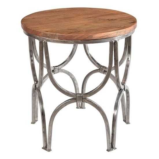 Bengal Manor Mango Wood And Steel Round End Table On Sale Overstock 17075837