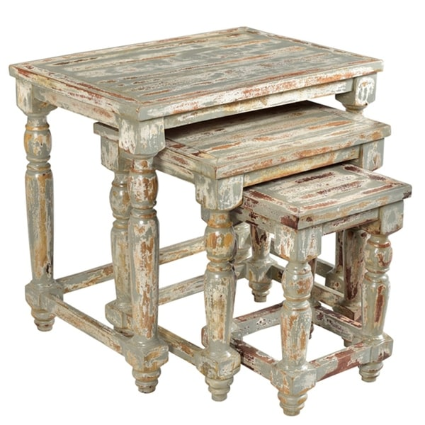 Mango Wood Coffee Table Distressed Gray: Shop Bengal Manor Mango Wood Distressed Grey Set Of Nested